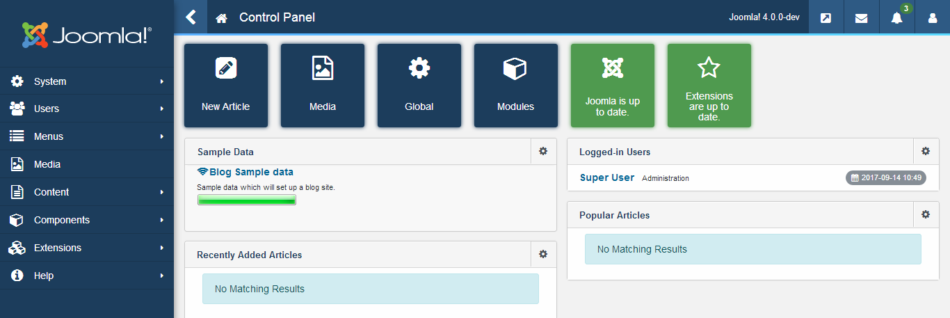 backend joomla 4